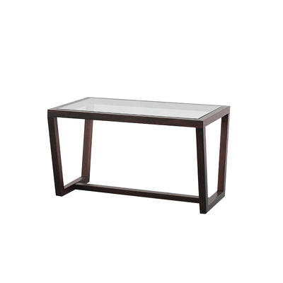 Modern design entryway console table with tempered glass top and solid oak wood base frame